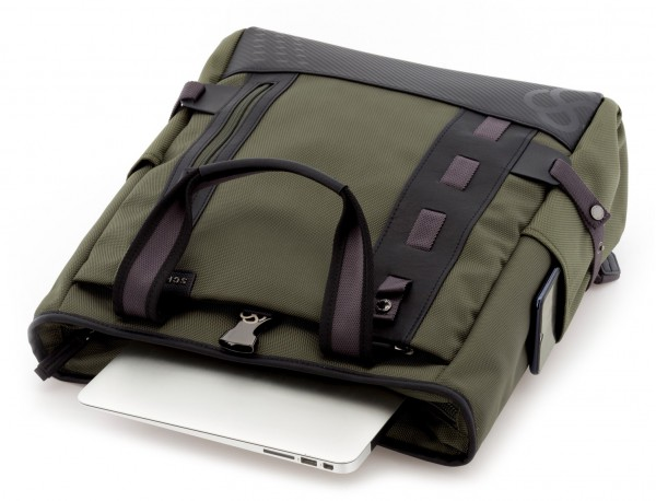 Borsa convertibile in zaino verde laptop
