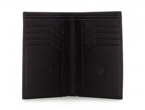 billetero porta tarjetas negro de piel abierto
