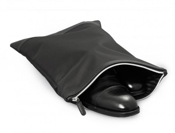 shoe pouch black open