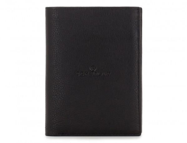 vertical leather wallet for men black front