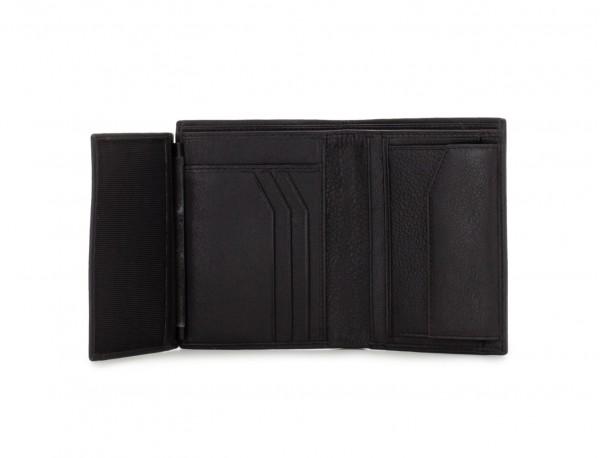vertical leather wallet for men black detail