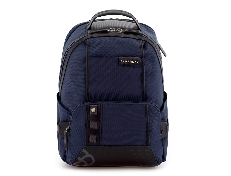 mochila de nylon azul frontal