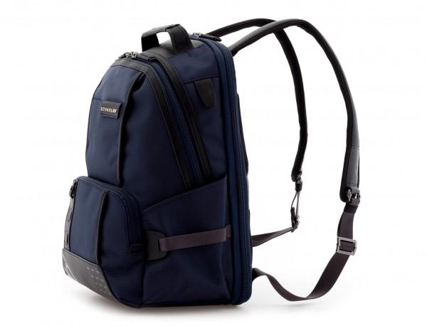 mochila de nylon azul lateral