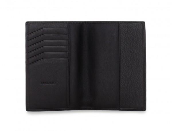 billetero para pasaporte de cuero negro abierto