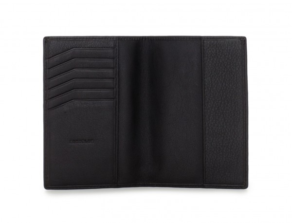 leather passport holder black open