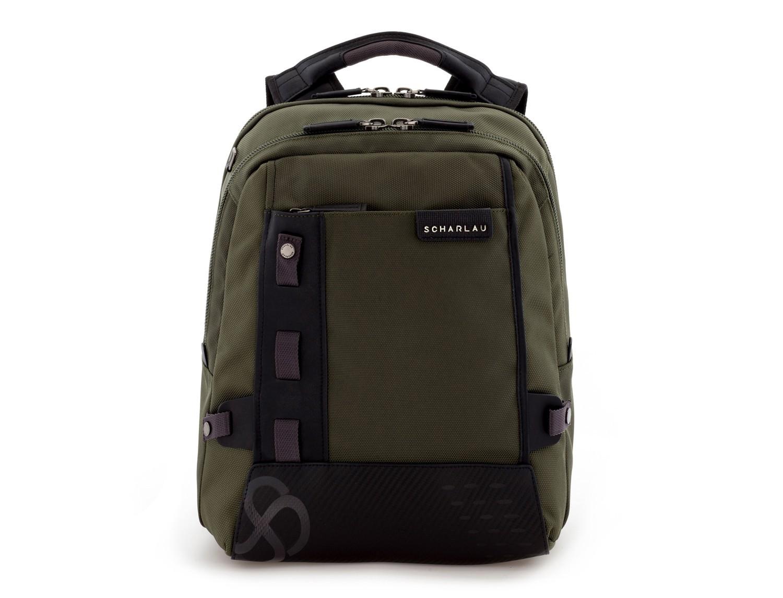 mochila para ordenador verde frontal