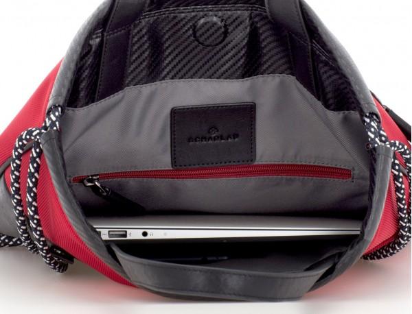 nylon backpack red laptop