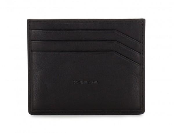 leather credit card holder black front