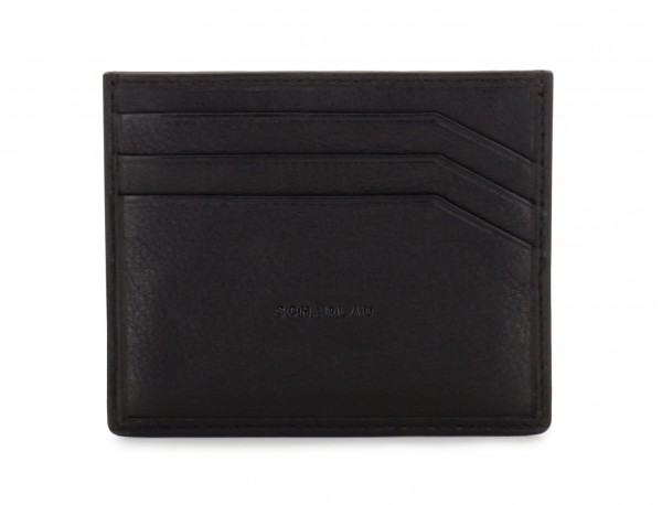 porta carte di credito portafoglio in pelle nera front