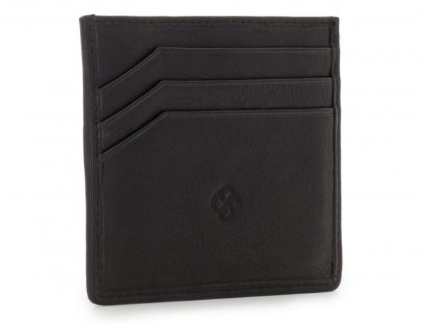 porta carte di credito portafoglio in pelle nera side