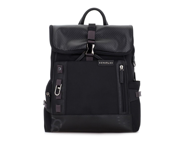 mochila con solapa negra frontal