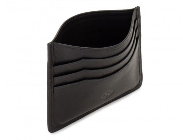 leather credit card holder black open