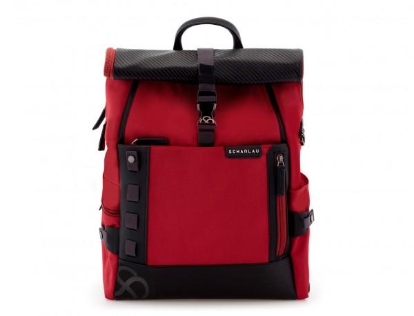mochila con solapa roja frontal