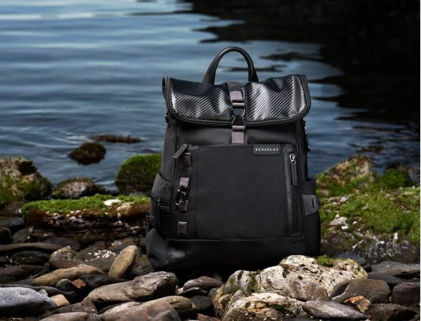 nylon backpack blue model