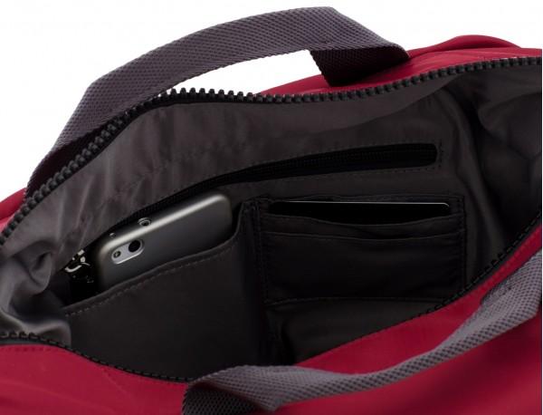 Messenger bag in red inside