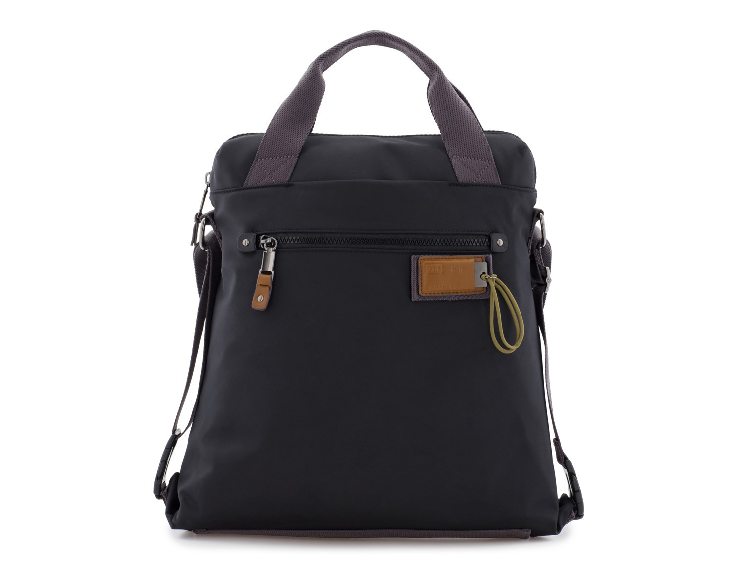 Bag convertible into backpack in black front