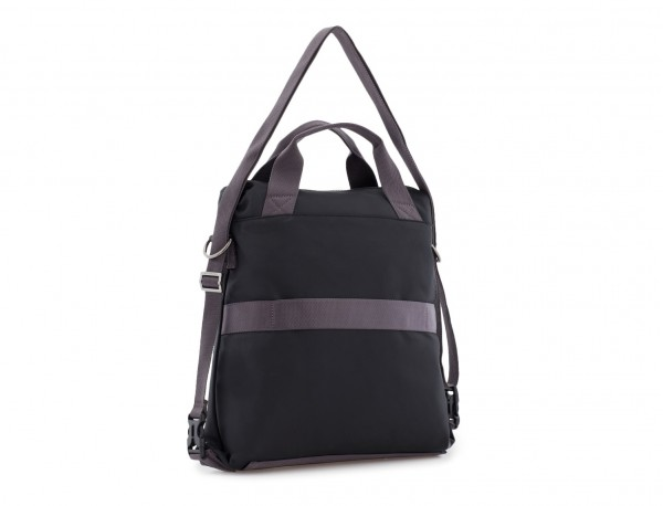 Bag convertible into backpack in black back