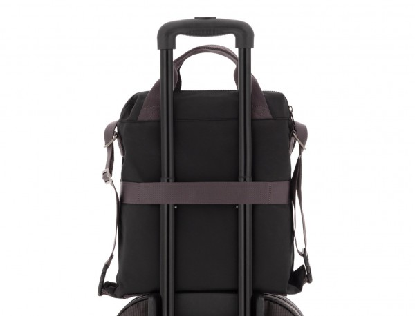 Bag convertible into backpack in black trolley