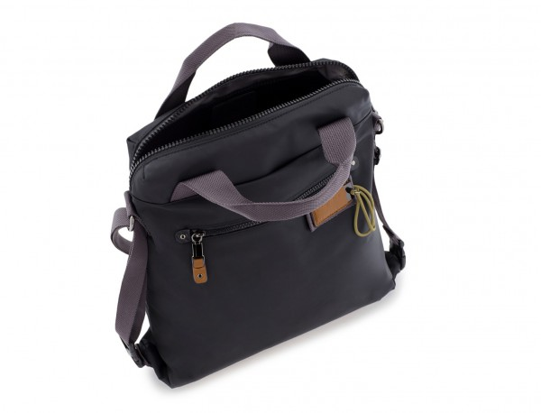 Bag convertible into backpack in black open