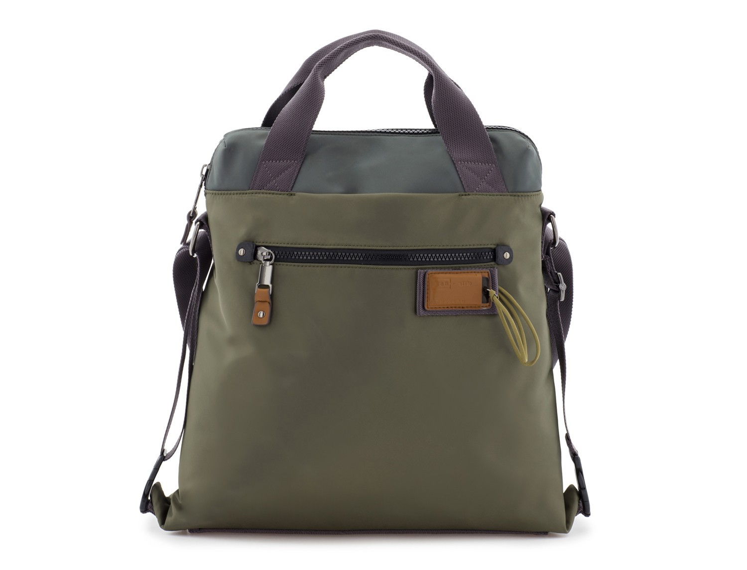 Bag convertible into backpack in green front