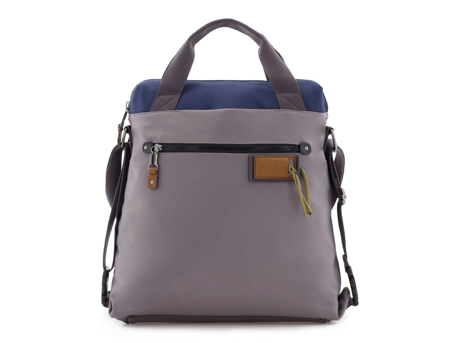 Bag convertible into backpack in gray front