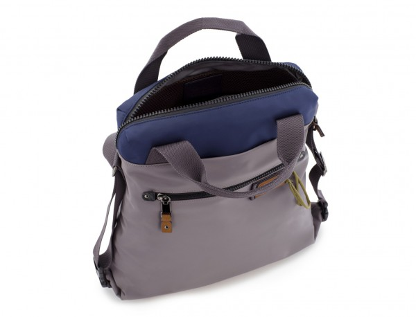 Bag convertible into backpack in gray open