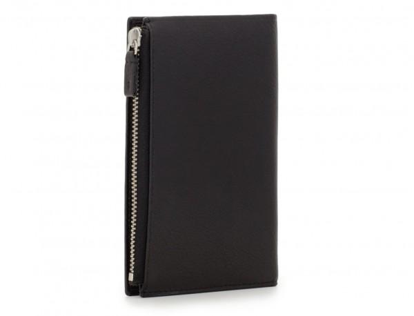 leather vertical wallet in black side