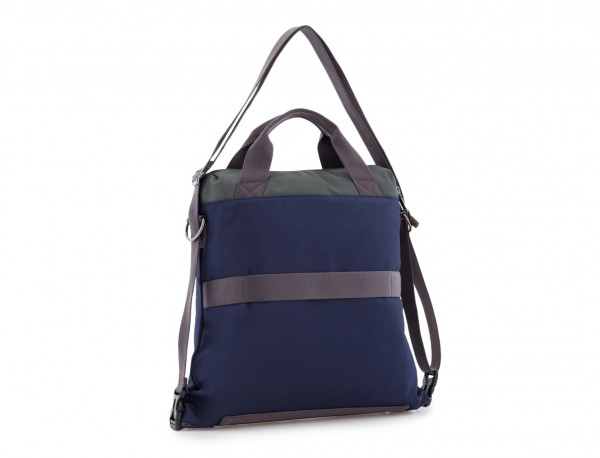 Bag convertible into backpack in blue back