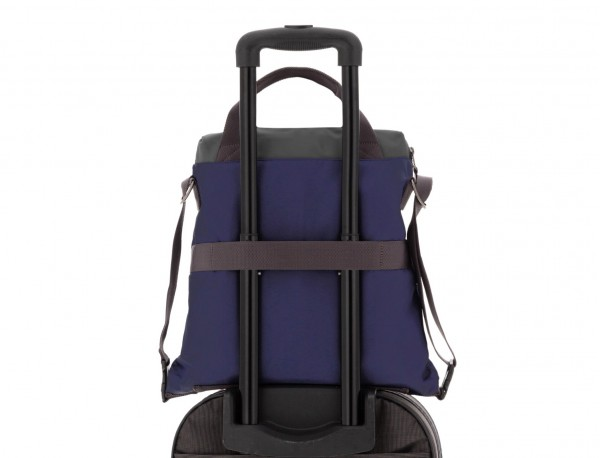 Bag convertible into backpack in blue trolley