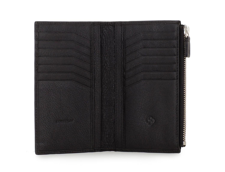 portafoglio in pelle nera open