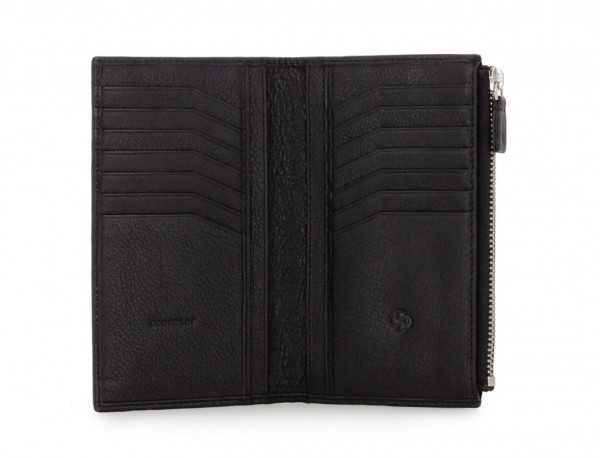 leather vertical wallet in black open