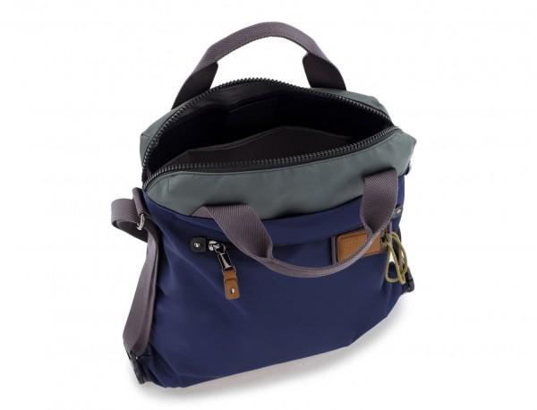 Bolso tote versátil convertible en mochila en azul abierto
