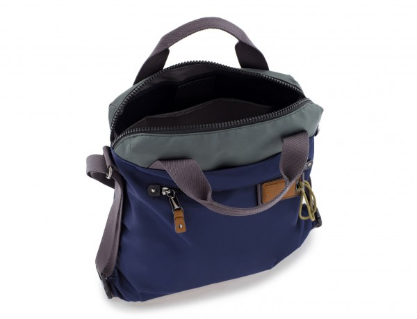 Bag convertible into backpack in blue open