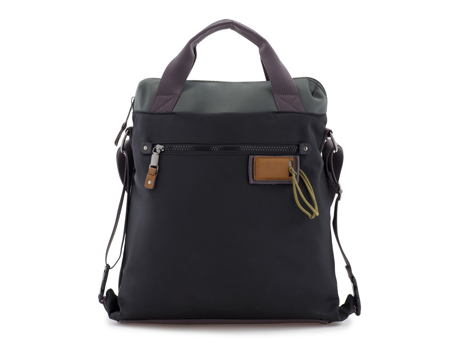 Bag convertible into backpack in black and gray front