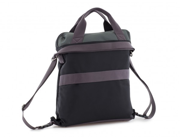 Bag convertible into backpack in black and gray side