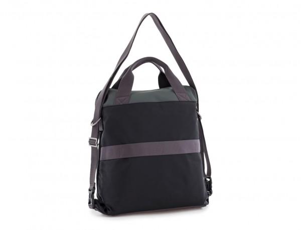 Bolso tote versátil convertible en mochila en negro y gris  lado