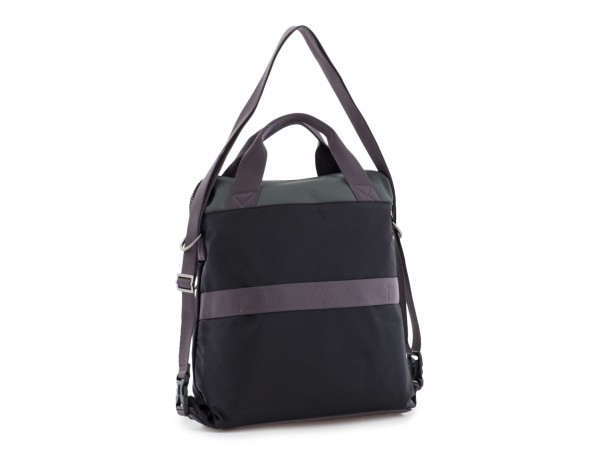 Bag convertible into backpack in black and gray back