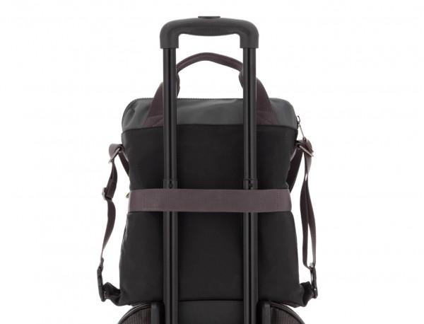Bolso tote versátil convertible en mochila en negro y gris trolley