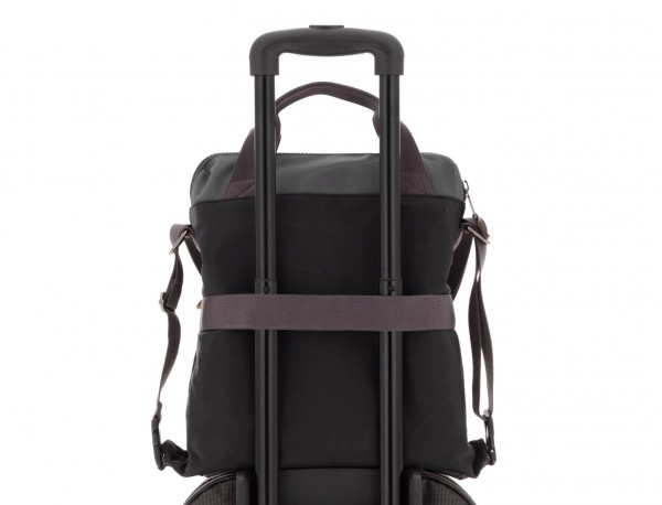 Bag convertible into backpack in black and gray trolley