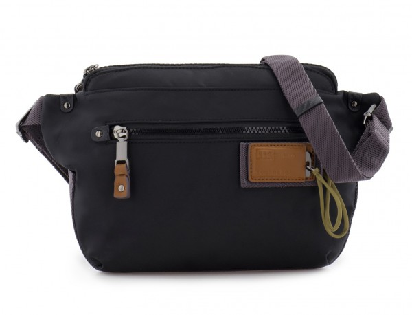 Polyester waist bag in black front