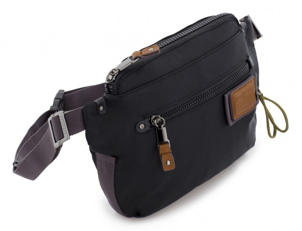 Polyester waist bag in black side