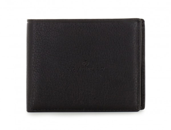 leather mini wallet in black front
