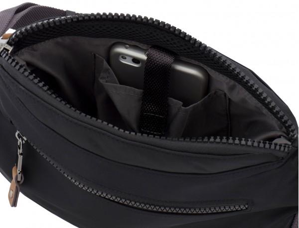 Polyester waist bag in black inside