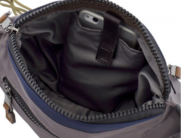 Polyester waist bag in gray pockets