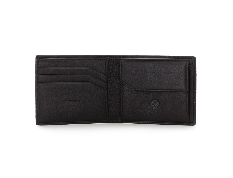 leather mini wallet in black open