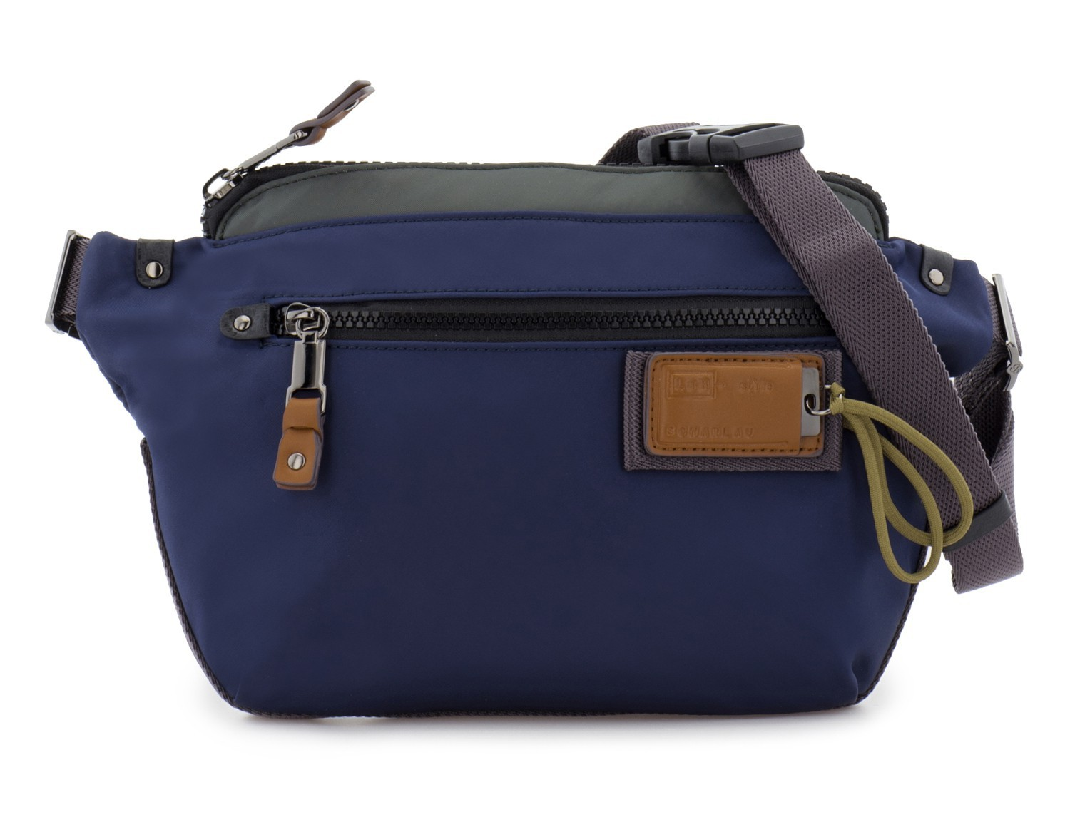 Polyester waist bag in blue front