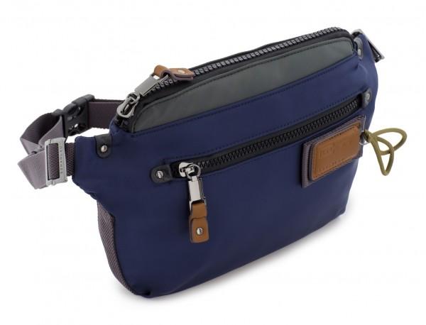 Polyester waist bag in blue side