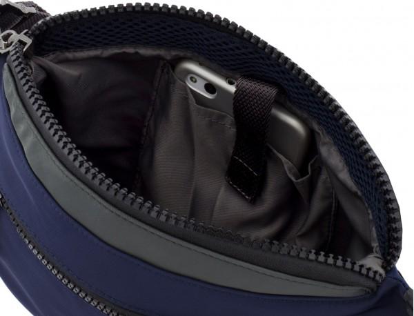 Polyester waist bag in blue inside