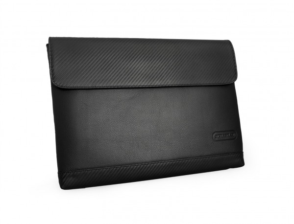 """Leather laptop sleeve 13.3"""" inch in black front"""
