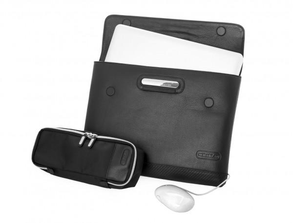 "Leather laptop sleeve 13.3"" open"